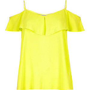 Yellow tiered bardot cami
