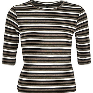 Khaki stripe jersey top