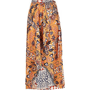 Orange printed maxi skirt