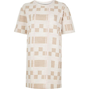 Cream check print longline T-shirt