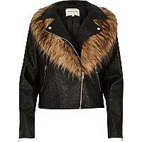 Black faux fox fur collar biker jacket
