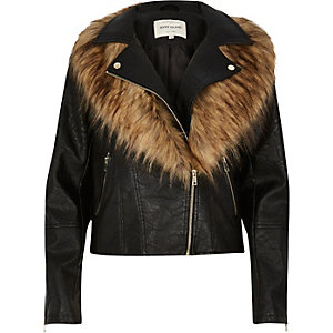 Black faux fox fur collar biker jacket