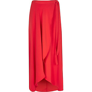 Red wrap front maxi skirt