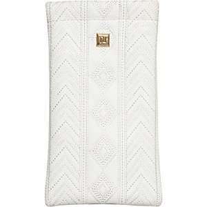 White embroidered snap sunglasses case