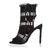 Black mesh panel heels