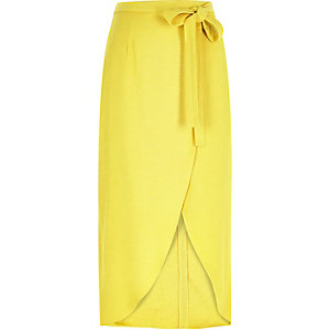 Yellow wrap split front midi skirt
