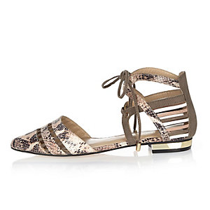 Pink snake print strappy shoes