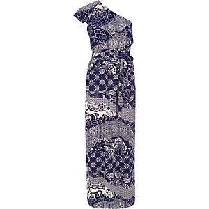 Navy print one shoulder maxi dress