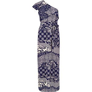 Navy print one shoulder maxi dress