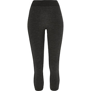 Nahtlose Jersey-Leggings mit hohem Bund in Khaki