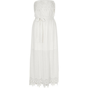 White lace bandeau maxi dress