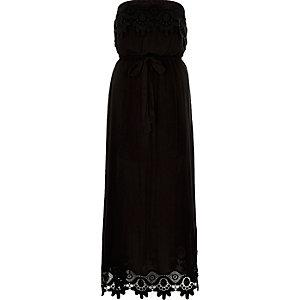 Black lace bandeau maxi dress