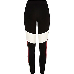 Black block panel leggings