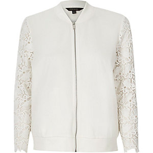 White lace sleeve bomber jacket