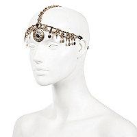 Gold tone beaded hair crown
