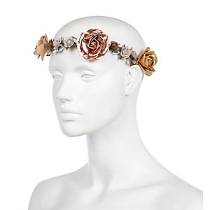 Bronze metallic flower hair crown