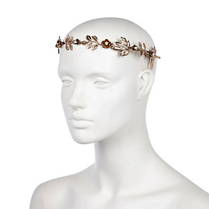 Yellow metallic flower hair crown
