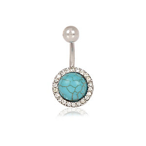 Turquoise bead belly bar