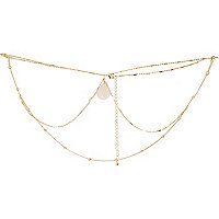 Gold tone gem belly chain