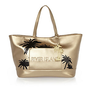 Gold palm tree beach bag