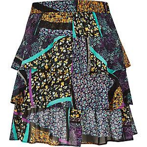 Purple print ruffle mini skirt