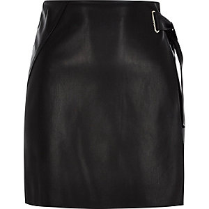 Black buckle wrap mini skirt