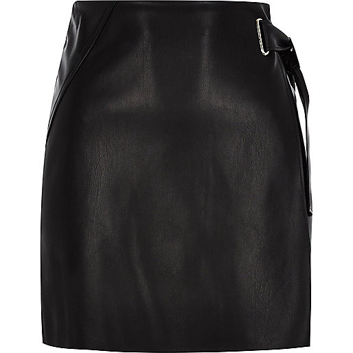 Black buckle wrap mini skirt
