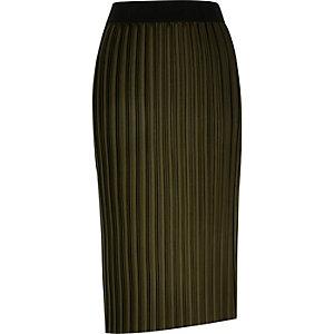 Khaki pleated asymmetric midi skirt