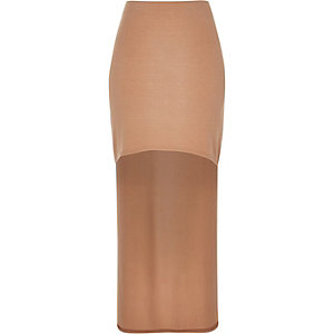 Peach jersey high-low maxi skirt