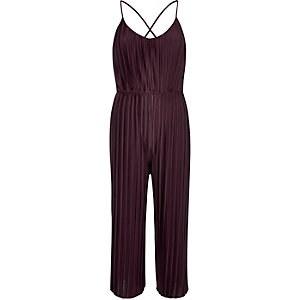 Dark purple pleated jumpsuit