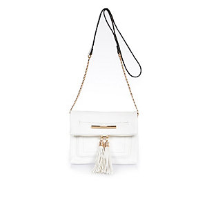 White tassel cross body handbag