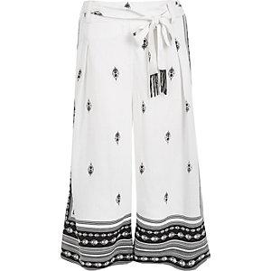 White print soft culottes