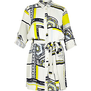 RI Plus white tile print shirt dress