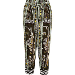 Green print tapered pants
