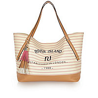Light brown j'adore stripe beach bag