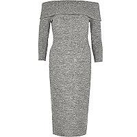 Grey ribbed bardot bodycon midi dress