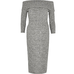 Grey ribbed bardot bodycon midi dress