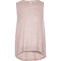 Light pink metallic knit wrap back top