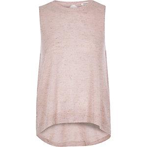 Light pink metallic knit wrap back top