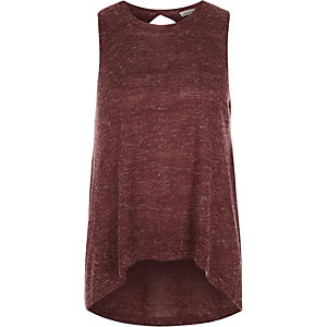 Dark red wrap back top