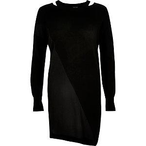 Black knit asymmetric tunic