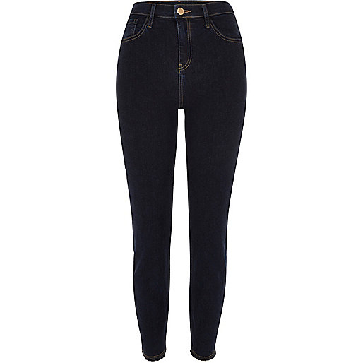 Dark wash high rise frayed Lori skinny jeans