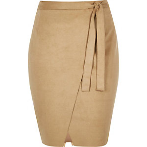 RI Plus brown faux suede wrap skirt