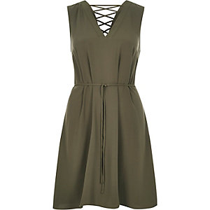 Khaki lace-up swing dress