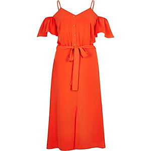 Orange cold shoulder midi dress