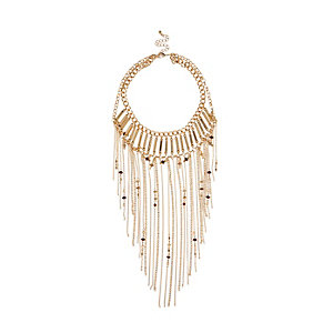 Gold tone chain bib necklace