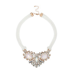 White rope glam necklace