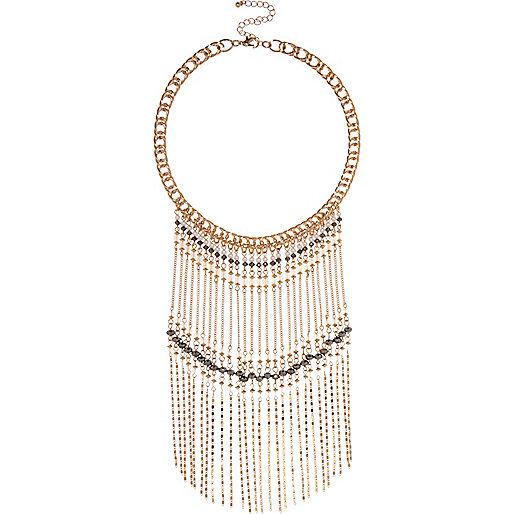 Collier doré à franges et perles