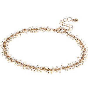 Gold tone multibeaded anklet