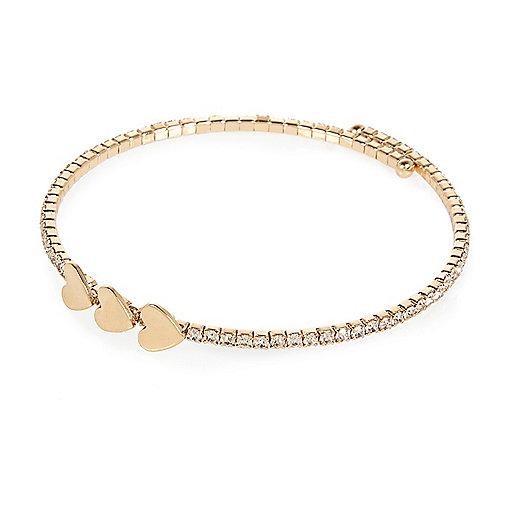 Gold tone heart spiral bracelet
